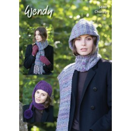 TRW5840 Ladies Hat, Scarf and Mittens Wendy Festival Chunky