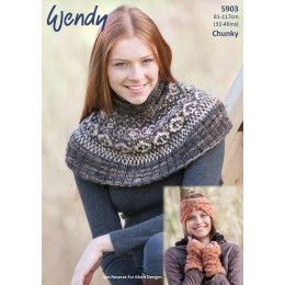 TRW5903 Ladies Neck Shawl, Hat and Mittens Wendy Evolve Chunky