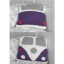 TRW6105 Split Screen Camper Van Cushion in Wendy With Wool Super Chunky