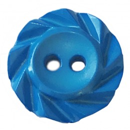 Blue Notched Rim Button 16mm
