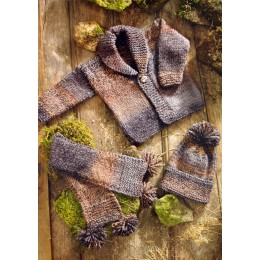 JB014 Baby Hat, Scarf and Cardigan Chunky