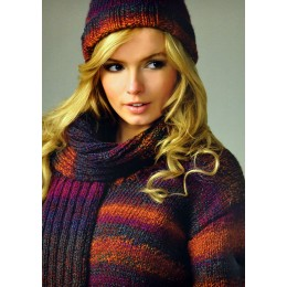 JB71 Ladies Jumper, Scarf and Hat Marble Chunky