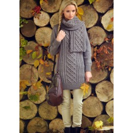 JB103 Ladies Long Cable Dress and Scarf Aran