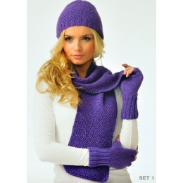 JB110 Ladies Scarf, Hat and Mittens DK