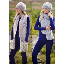 JB215 Adults Cable Scarves and Hats Aran