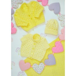 JB236 Baby Cardigans and Hat DK
