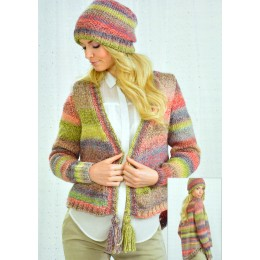 JB245 Ladies Cardigan and Hat Chunky