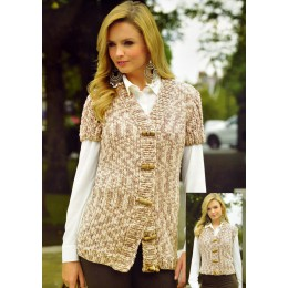 JB333 Ladies Cardigan and Waistcoat Animal Print Super Chunky