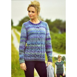 JB338 Ladies Cable Jumper and Top Marble Chunky