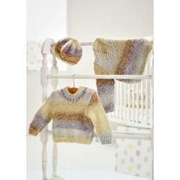JB351 Baby Jumpers and Hat Baby Marble Chunky