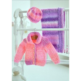 JB354 Baby Cardigan, Hat and Blanket Baby Marble Chunky
