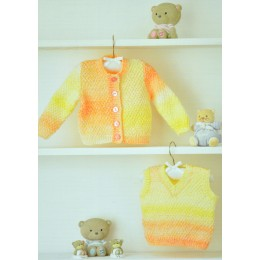 JB356 Baby Cardigan and Sleeveless Jumper DK
