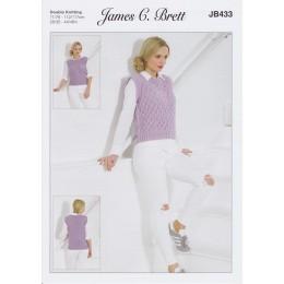 JB433 Vest for Women in James C Brett Glisten DK