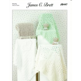 JB447 Baby Blankets in James C Brett Flutterby