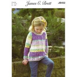 JB452 Jumper for Children in James C Brett Harmony Chunky