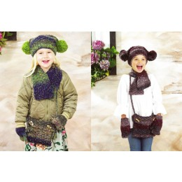 JB472 Girl's Scarf, Bag, Hat & Mittens in James C Brett Tuscany Chunky