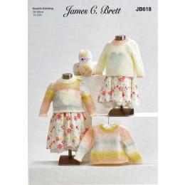 JB618 Girl's Sweaters in James C Brett Baby Marble DK