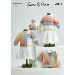 JB619 Girl's Cardigans & Sweater in James C Brett Baby Marble DK