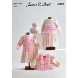 JB620 Girl's Sweater & Cardigans in James C Brett Baby Marble DK