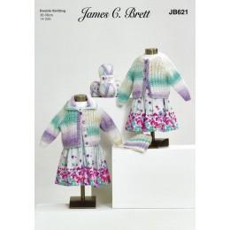 JB621 Children's Cardigans & Hat in James C Brett Baby Marble DK