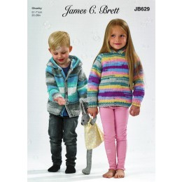 JB629 Child's Hooded Sweater & Jacket in James C Brett Party Time Chunky