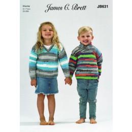 JB631 Child's V Neck & Wrap Neck Sweater in James C Brett Party Time Chunky