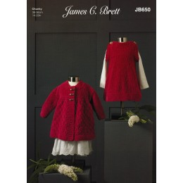 JB650 Girl's Dress & Jacket in James C Brett Flutterby Chunky