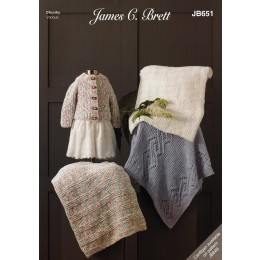 JB651 Baby Blankets in James C Brett Flutterby Chunky