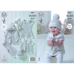 KC4897 Jacket, Cardigan, Dress, Leggings and Hat for Babies knitted in King Cole Cherish Dash DK