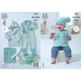 KC4898 Jacket, Waistcoat, Onesie and Hat for Babies in King Cole Cherish Dash DK