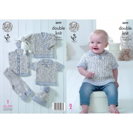 KC4899 Waistcoat, Polo, Jumper, Trousers and Hat for Babies in King Cole Cherish Dash DK