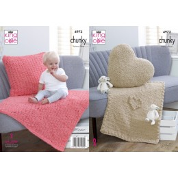 KC4973 Blankets and Cushions in King Cole Cuddles Chunky