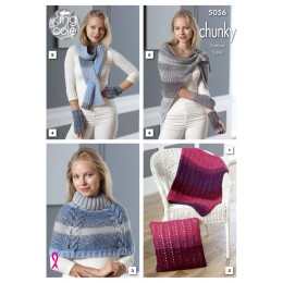 KC5056 Lap Blanket, Cushion, Shoulder Cover, Fingerless Gloves, Thread Through Scarf and Triangle Wrap in King Cole Carousel Chunky
