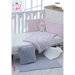 KC5060 Cot Bumper, Cover, Blanket, Cushion and Bunting for Babies in King Cole Yummy