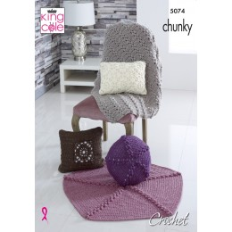KC5074 Crochet Cushions and Throws in King Cole Big Value Chunky