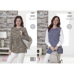 KC5080 Slipover and Sweater for Women in King Cole Fashion Aran Combo