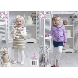 KC5113 Cardigan, Top and Dress for Children in King Cole Comfort Kids DK