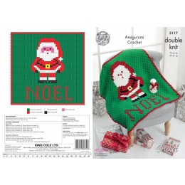 KC5117 Crochet Corner to Corner Christmas Blanket and Snowman Toy in King Cole DK