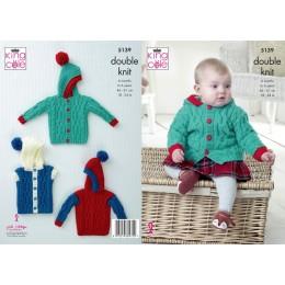KC5139 Babies Jacket, Sweater & Gilet in King Cole Big Value DK