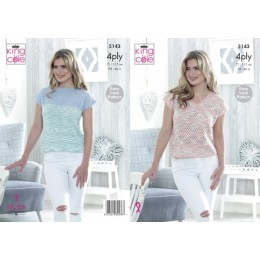 KC5143 Ladies V-Neck & Wide Neck Tops in Giza Cotton 4Ply