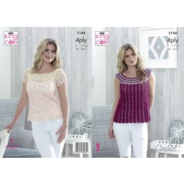 KC5144 Ladies Sleeveless & Short Sleeve Tops in Giza Cotton 4Ply