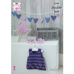 KC5145 Babies Pinafore Dress, Bunting, Hat, Shoes & Booties in Cottonsoft DK