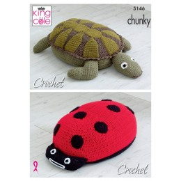 KC5146 Crochet Ladybird & Turtle poof in Big Value Chunky