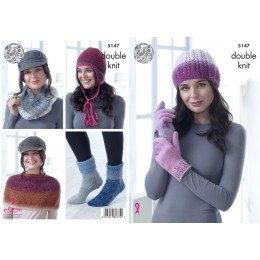 KC5147 Ladies Hat, Cowl, Gloves, Shoulder Cover, Socks & Helmet in Curiosity DK