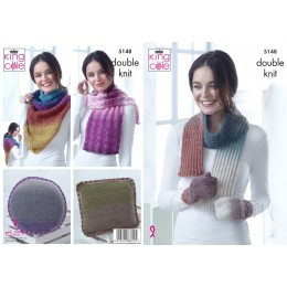 KC5148 Mittens, Scarf, Square & Round Cushions, Lace Wrap & Triangular Wrap in Curiosity DK