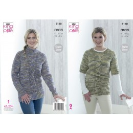 KC5160 Ladies Top & Sweater in King Cole Big Value Aran