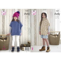 KC5169 Girls Poncho & Hat in Comfort Chunky