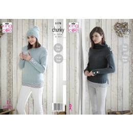 KC5178 Sweaters and Hat in King Cole Timeless Chunky