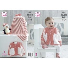KC5207 Matinee Coat, Blanket, Hat and Bootees in King Cole Cottonsoft DK and Cottonsoft Candy DK