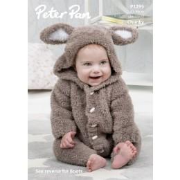 P1295 Bunny Onesie in Peter Pan Precious Chunky